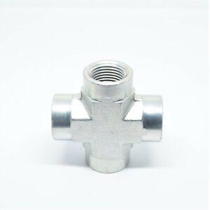 """Steel 3/8"""" Female Npt Fpt Cross 4 Way Fitting Vacuum, Fuel, Air, Water, Oil, Gas"""