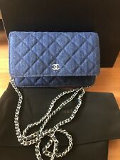 Auth Rare Chanel Navy Blue Denim Wallet WOC Quilted Crossbody Flap Bag Limited