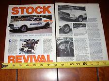 1968 DYNO DON NICHOLSON MUSTANG SUPER STOCK RACE CAR - ORIGINAL 1988 ARTICLE