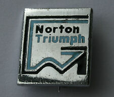 NORTON TRIUMPH Original VTG  1980`s Enamel Metal Pin Badge Motorcycle Biker Club