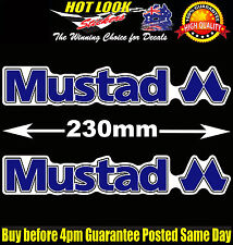 2 Mustad Stickers Decals Suit Fishing Boat Rod Reel Hooks dinghy Lure tackle Box
