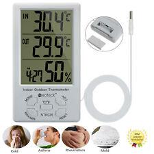 LCD Digital Innen Außen Thermometer Hygrometer Außenfühler Sensor Messer mit Uhr