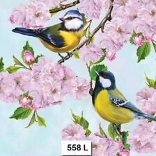 TWO (2) Paper Luncheon Napkins for Decoupage, Crafts, CHERRY, BLOSSOM, BIRD