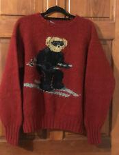 POLO Ralph Lauren Red 100% Wool SKI BEAR Sweater Size Large Vintage