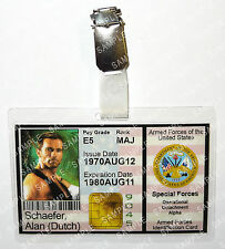 Predator Alan Dutch Schaefer ID Badge Aliens Armed Forces Cosplay Prop Comic Con