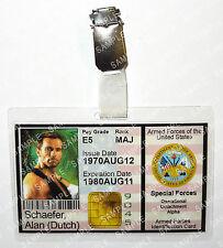Predator Alan Dutch Schaefer ID Badge Aliens Armed Forces Cosplay Prop Halloween