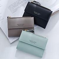 Women Zipper RFID Wallet Fashion Lady Solid Coin Pocket Purse Clutch Small Bag