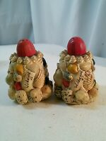 Vtg Shell Art Wildwood NJ souvenir Salt & Pepper set Red Beach Ocean Sea decor