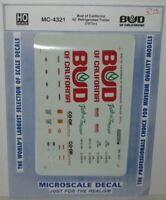 MICROSCALE DECAL HO SCALE MC-4321 Bud of California 40' Refrigerated Trailer