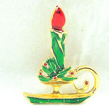Vintage Xmas Holiday Pin Candle Stick Holly Red Green Enamel Goldtone Brooch