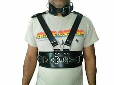 100% REAL LEATHER MEN'S BONDAGE PADDED FULLBODY ROMAN HARNESS  GAY INTEREST