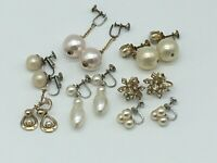 VINTAGE 7 PAIR GOLD/SILVER TONE FAUX PEARL DANGLE CLUSTER SCREW BACK EARRINGS