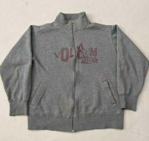 Vtg Volcom Full Zip Mock Neck Sweatshirt Jacket Gray/Red Men's Medium Skateboard