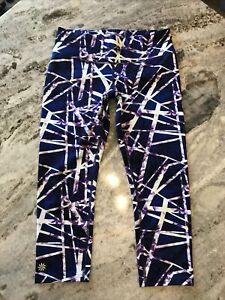 Athleta S Capri Pants Leggings Blue Purple White