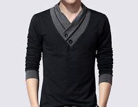 Mens Casual Shirt Slim fit V-Neck Long sleeve Shirt men's T-shirt Size M-5XL