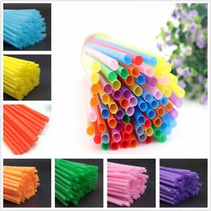 200Pcs Plastic Coloured Drinking Straws Birthday wedding Celebration Disposable
