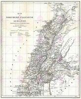 Map Antique 1856 Kiepert Lebanon Historic Large Replica Canvas Art Print