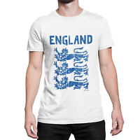 ENGLAND Mens ORGANIC T-Shirt 3 Lions World Cup Football Patriotic English Retro