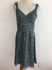 Ann Taylor Sleeveless Silk Dress Brown & Teal Floral Size 0