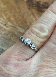 Australian c:1930s, Solid Yellow Gold & Platinum, Natural Diamond Ring. Saunders