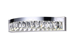 Single LED Wall Light, Polished Chrome Finish with Crystals Natural White 4000K