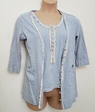 DARLING 2 PIECE LIGHT BLUE STRIPE TWINSET COTTON TOP AND MATCHING CARDIGAN LARGE