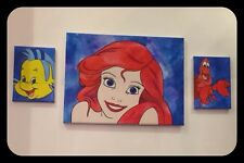The Little Mermaid Disney Cartoon Hand Painted Canvas Set Of 3 Original Art Work