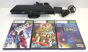 Microsoft Xbox 360 Kinect Sensor Bar Black Model 1473 With 3 Games Bundle