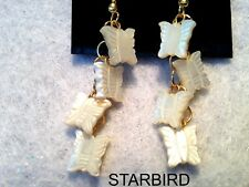 WHITE MOTHER OF PEARL BUTTER FLY DANGLE EARRINGS 80's VINTAGE