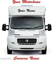 2 x MOTORHOME/CARAVAN PERSONALISED NAMES GRAPHICS DECALS CHOICE OF COLOURS 580