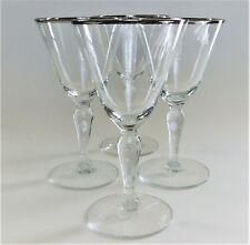 4 Fostoria Wedding Ring Crystal Clear Stem Champagne Tall Sherbet Wine Glasses
