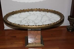Antique French Coffee Table Gilt Gold And Mirror