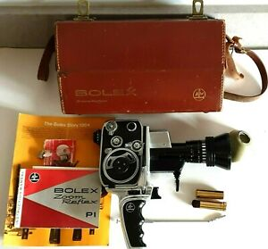 BOLEX ZOOM REFLEX P1 8mm MOVIE CAMERA WITH CASE AND INSTRUCTIONS c. 1960s