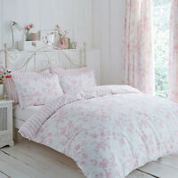 Polycotton Floral Design Reversible Stripe Duvet Set or Curtains in Pink White