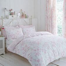 Polycotton Floral Design Reversible Stripe Duvet Set or Curtains in Pink White