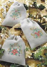 Art Nouveau inspired festive cross stitch motif charts gift bags Christmas 912