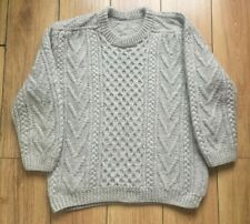 "Mans Grey Wool Jumper 48"" Aran L Sweater Hand knit Pullover Cable 122 cm Large"