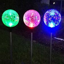 3Pack 3Color Crackle Glass Solar Stake Light Set