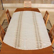 Vintage 70s Table Cloth & Napkins Brown Beige Neutral Boho Linen 1970s (set #2)
