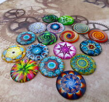 Pack of 15  Psychedelic Pattern Mix Cabochons 25 mm round cabochon