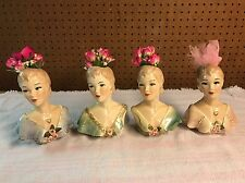 """RARE Gorgeous 6 3/4"""" Rymes Ceramics Calif Lady Head Vase Lot Of 4 - As Is"""
