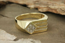 10K Yellow Solid Gold Mens Diamond Ring Band