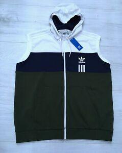 Authentic Adidas Mens Zip Up Hooded Sleeveless Jacket Size 2XL XXL BNWT Hoodie