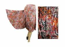 Broomstick Skirt Vintage Boho Gypsy Skirt Orange Batik Print India Cotton