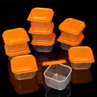8/16 x PLASTIC MINI STORAGE BOXES BABY SMALL POTS FOOD FREEZER LEFTOVER