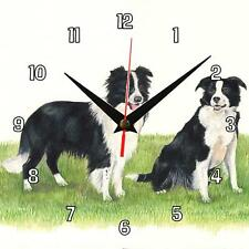 No.75 Border Collies dogs Sue Podbery Wall clock handmade gift present