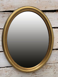 Wall Mirror Gold Oval With Decorated Frame Baroque Shabby Chic 46x36 CM Cottage