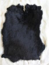 Black Genuine Rabbit Fur Skin Tanned Leather Hides Craft Gray Pelts Fashion