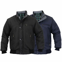 Mens SKY DIVER Bomber Jacket Padded Coat Work Quilted Checked Tartan Winter New