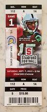 Stanford Cardinal San Jose State Football Full Ticket 9/7 2013 Stub Usua Amanam